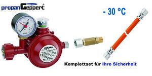 Druckminderer Gasregler 50 mbar Schlauchbruchsicherung Schlauch 1,5m Propangas