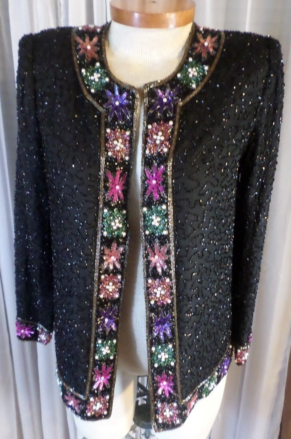 Vintage schwarz M Woman 100% Silk Bead Sequin Lady Jacket Medium 8 Top Kazar Lawre