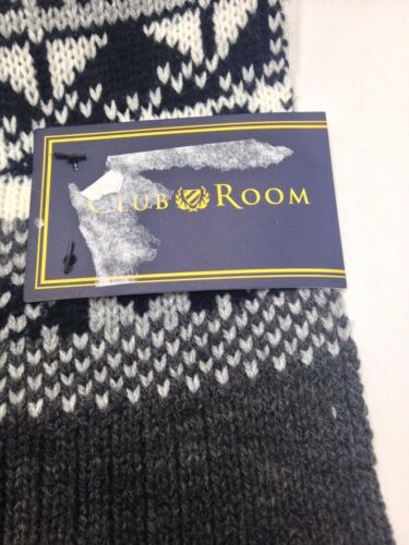 $295 Club Room Men Unisex Black Pattern Winter Acrylic Shawl Nwt Muffler Scarf
