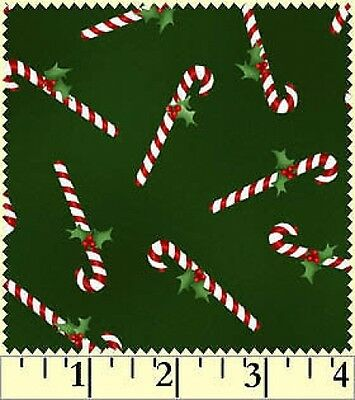 Fat Quarter Christmas Classics Candy Canes on Green Cotton Quilting Fabric
