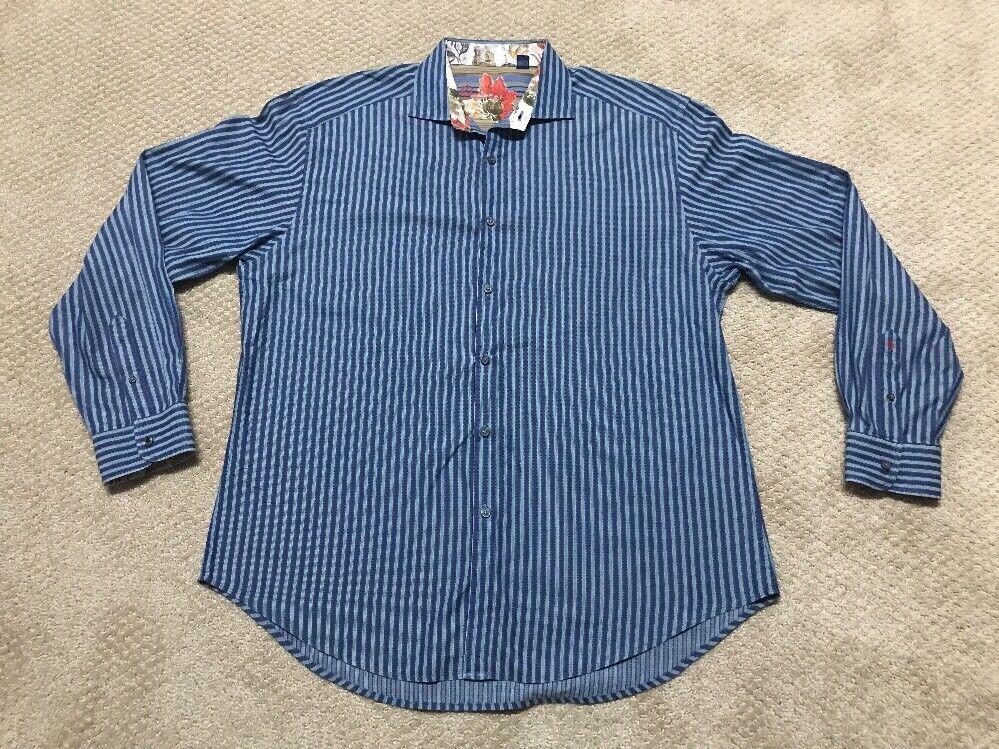 ROBERT GRAHAM Men's Button L Shirt Blau Striped FLORAL Abstract Größe XXL 2XL