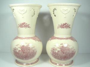 2-Johnson-Bros-9-034-Vases-England-Pierced-Old-Britain-Castles-Pink-Bouquet-Disc