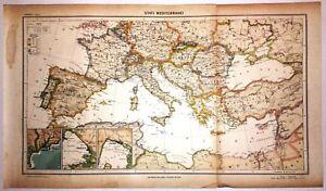 Cartina Geografica Mondo Antica.Carta Geografica Antica Mediterraneo Ante 2 Guerra Mondiale 1939 Old Antique Map Ebay