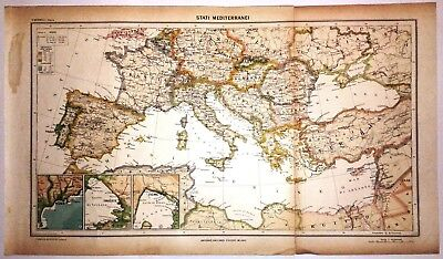 Cartina Geografica Mediterraneo Occidentale.Carta Geografica Antica Mediterraneo Ante 2 Guerra Mondiale 1939 Old Antique Map Ebay