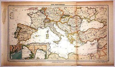 Cartina Geografica Del Mediterraneo.Carta Geografica Antica Mediterraneo Ante 2 Guerra Mondiale 1939 Old Antique Map Ebay