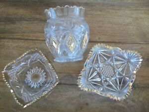 ANTIQUE-EAPG-PATTERN-GLASS-WITH-GOLD-TRIM-QTY-3-AS-IS