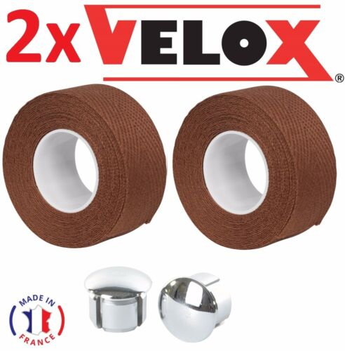 CHROMED PLASTIC END CAP VELOX BIKE RETRO VINTAGE COTTON BROWN HANDLEBAR TAPE