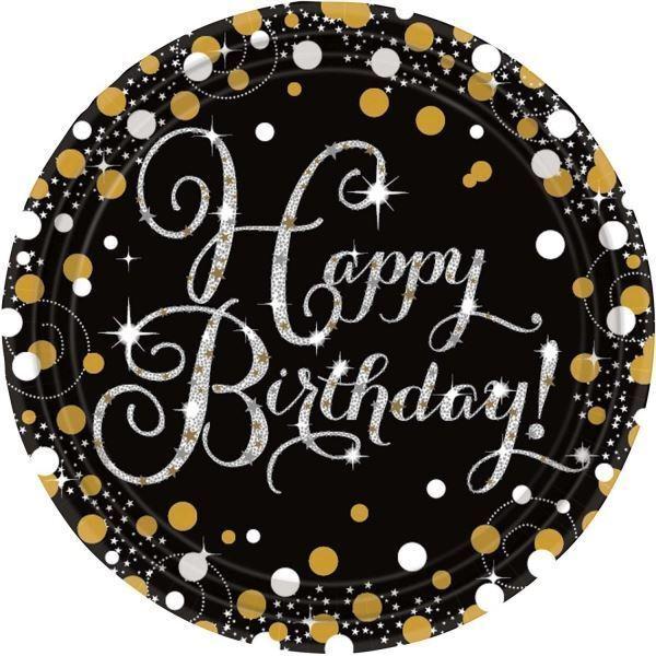 Gold Celebration Happy Birthday Prismatic Paper Plates 23cm - 8 pack