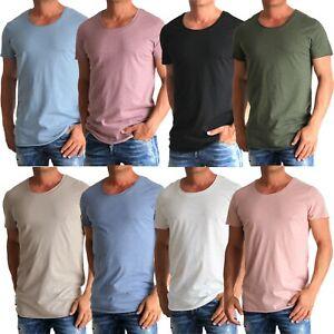 Jack and Jones Bas Tee U-Neck Herren T-Shirt lässiges Shirt mit offenem Saum Neu