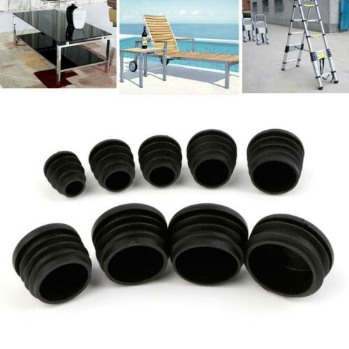 10Pcs Plastic Furniture Leg Plug Blanking End Cap Bung For Round Pipe Tube Black