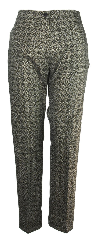 MARINA RINALDI Women's gold Metallic Ravenna Printed Pants  360 NWT