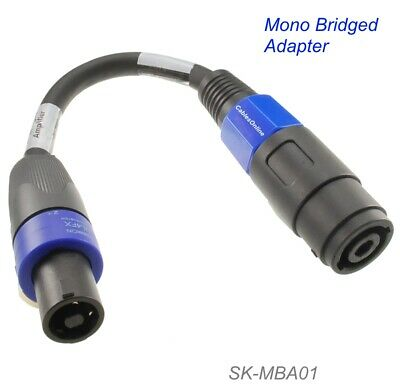 "6/"" Bridged Mono Cable Adapter Female Speakon Connectors Male"