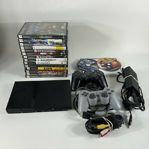 Playstation-PS2-Slim-SCPH-77001-Game-Console-Game-Lot-Bundle-AS-IS-UNTESTED
