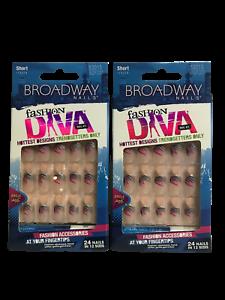 (2) KISS BROADWAY GLUE ON NAILS FASHION DIVA PINK, SILVER BLACK DESIGN BGFD01
