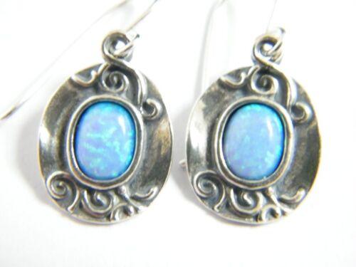 E02041OP SHABLOOL DIDAE ISRAEL Blue Fire Opal 925 Sterling Silver Oval Earrings