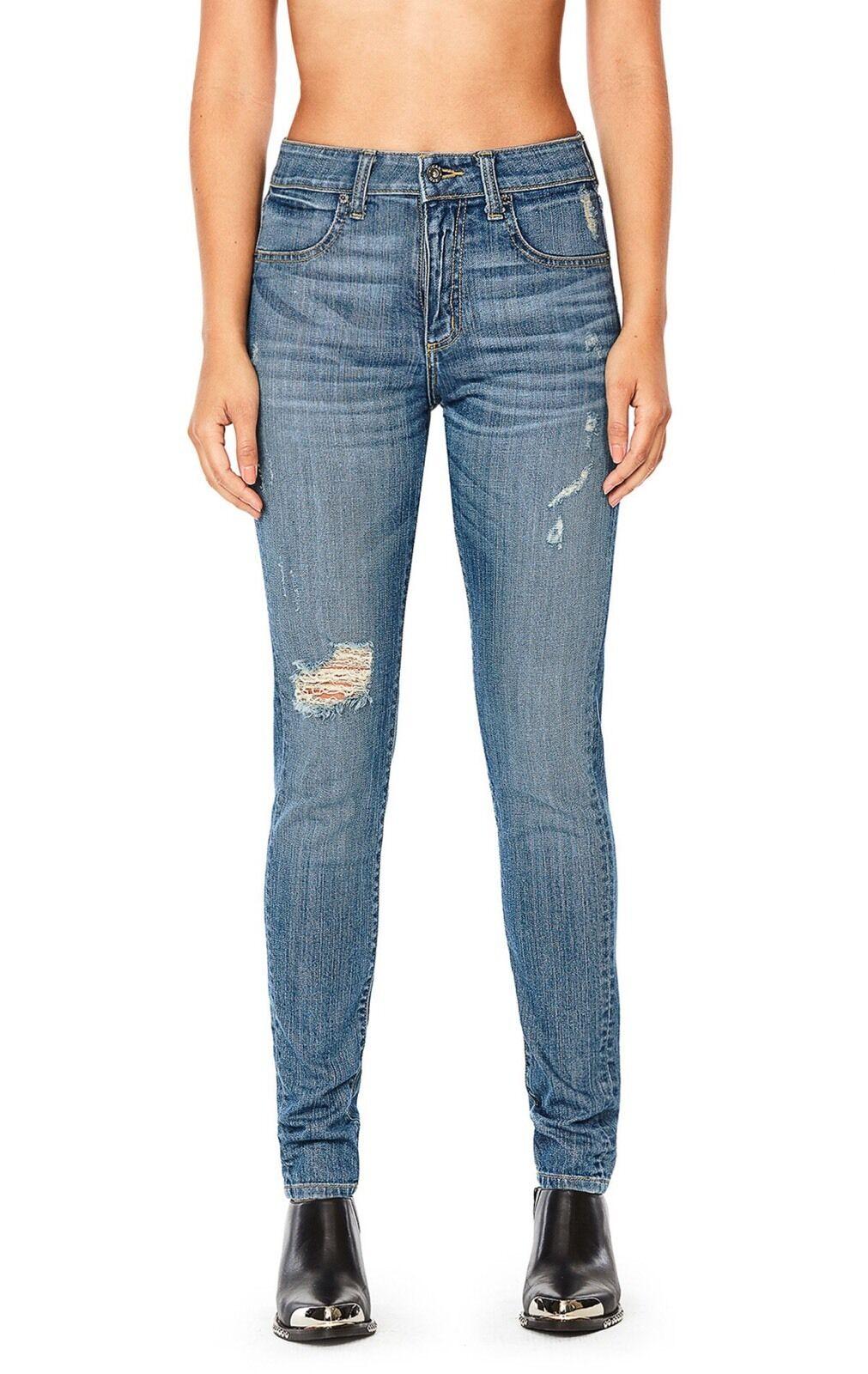 LF carmar high rise medium wash distressed skinny jeans sz 25 NWT