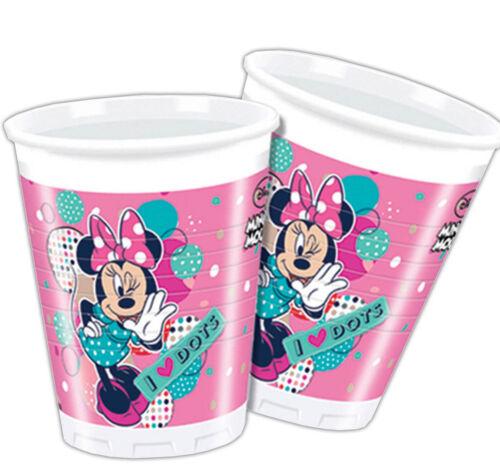 8 Disney Minnie Mouse Rose Funky dots Dance Party 200 ml gobelets en plastique