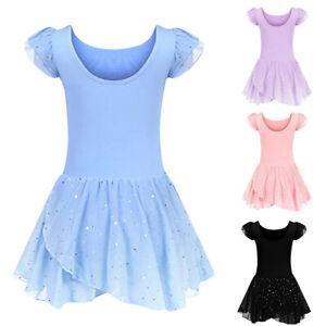 UK Toddler Baby Girls Gauze Leotards Ballet Bodysuit Dancewear Party Dress CM