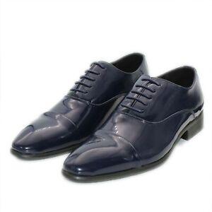 Scarpe-Uomo-Eleganti-Lucide-Blu-Estive-Francesine-Classiche-Cerimonia-Oxford
