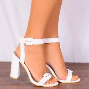 WHITE PU ANKLE STRAP STILETTOS STRAPPY SANDALS PEEP TOES HIGH HEELS SIZE SHOES