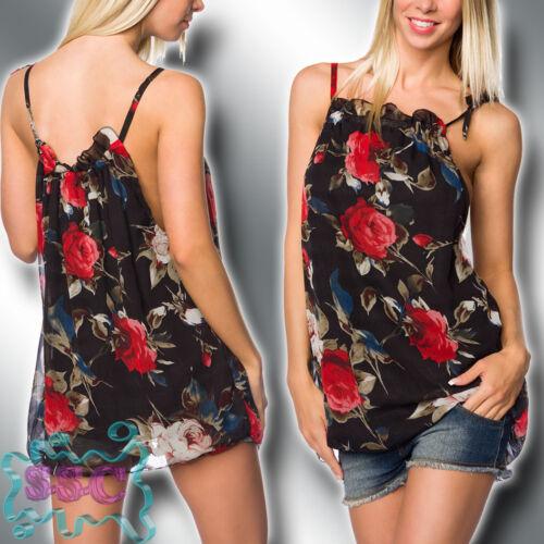 Chiffon Träger Long Top S-XL Floral Print Blumen Muster Shirt Bluse 14739-4