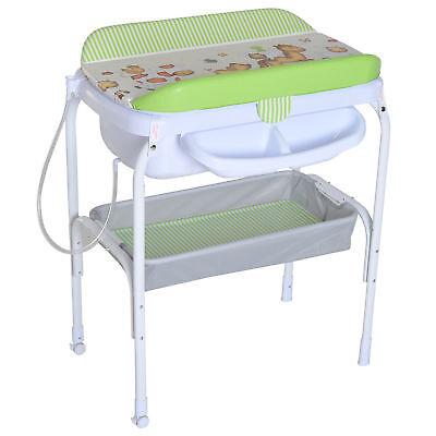 Nursery Furniture Rational Homcom Fasciatoio Bambini Con Vaschetta Bagnetto Portatile Con Portaoggetti Baby