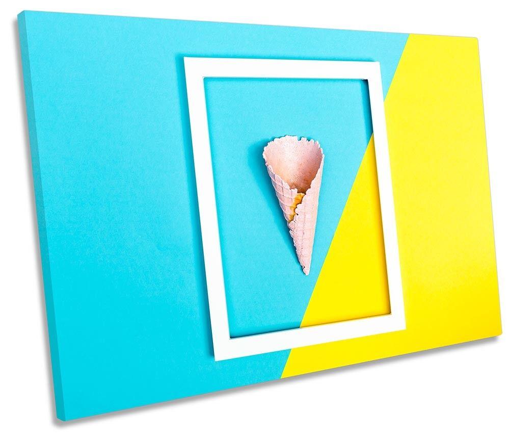 Blau Gelb Ice Cream Kitchen Picture SINGLE CANVAS WALL ART Print