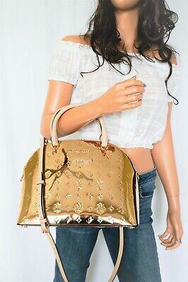 NWT Michael Kors Emmy Dome Large Mirror Metallic Satchel Shoulder Bag Rose Gold 193599228426 | eBay
