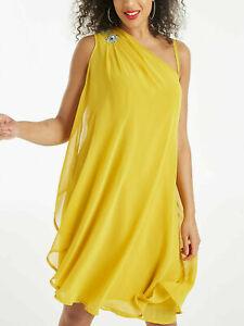 Kleid-Gr-50-56-Knielang-Sommerkleid-Gelb-Strass-festlich-Chiffonkleid-Abendkleid