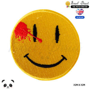 Watchman-Dead-Smiley-Dead-Emoji-Movie-Embroidered-Iron-On-Sew-On-Patch-Badge