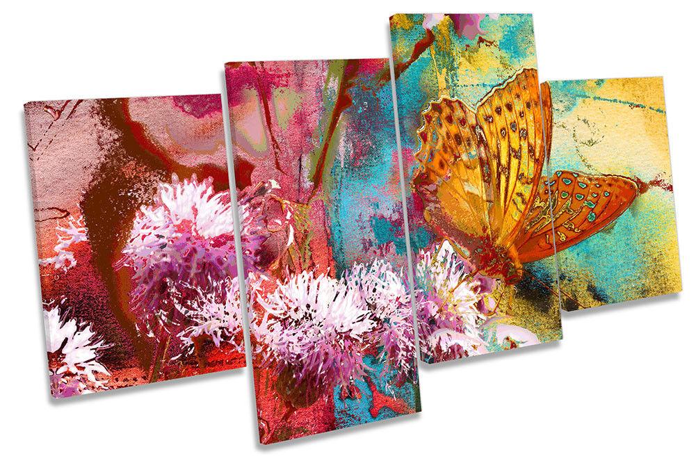 Mariposa Floral Flores LONA pa de rojo  arte impresión de pa múltiples repro art cf07a3