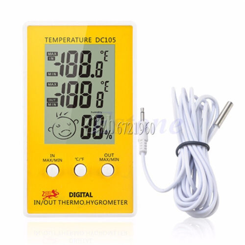 DC105 Indoor//Outdoor LCD Humidity Thermometer Hygrometer Meter Probe Cable C//F