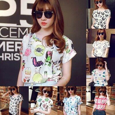 Fashion Women Chiffon Short Sleeve T Shirt Casual Tops Ladies Girl Summer Blouse