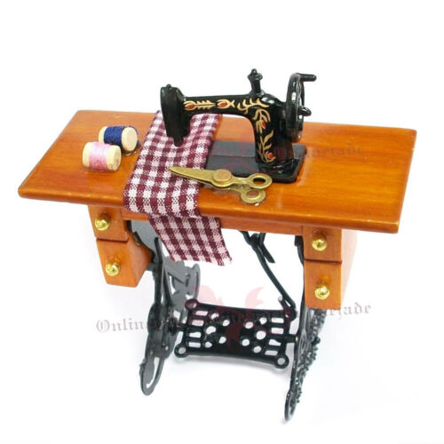 Dollhouse Vintage Miniature 1:12 Sewing Machine Table With Cloth Decoration