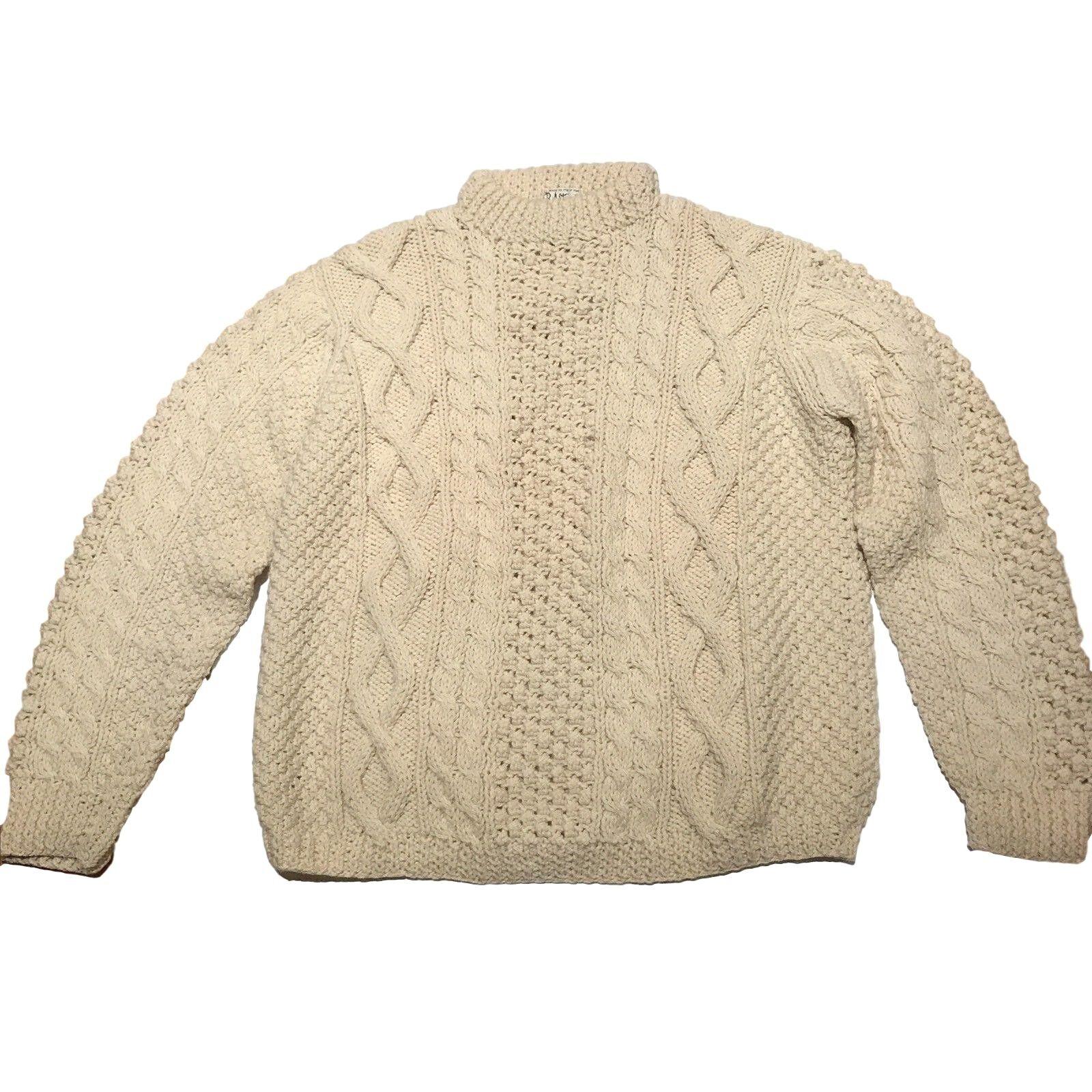 Vintage Mens B. Altman Fisherman Sweater Größe XL 90s Cream Virgin Wool