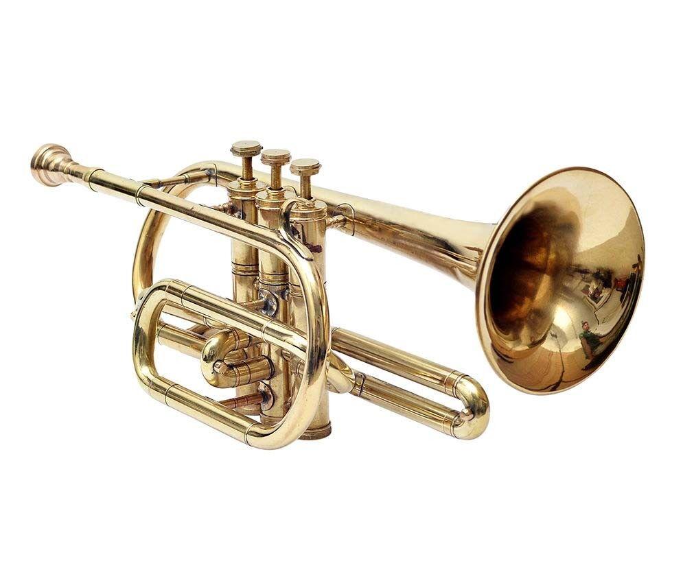 New Cornet Brass Finish Bb Pitch + Case & Mouth Piece Fast Ship SKT346
