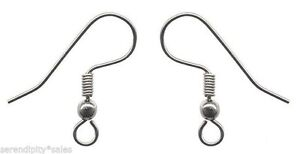 Coil ~ Earrings 200 Stainless Steel Ear Wires Hooks ~ with Bead