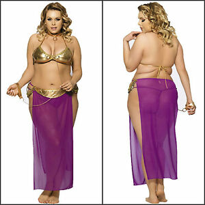 Image is loading Plus-Size-Women-s-Purple-Harem-Slave-Bedroom-  sc 1 st  eBay & Plus Size Womenu0027s Purple Harem Slave Bedroom Costume Skirt G-String ...