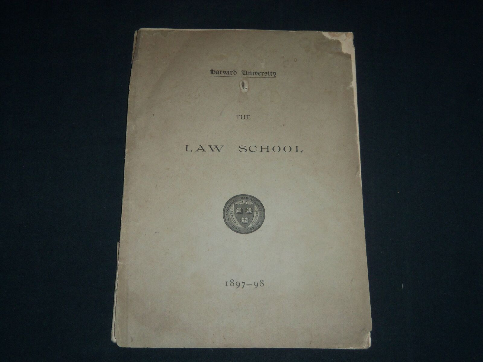 1897-1898 HARVARD UNIVERSITY LAW SCHOOL ANNOUNCEMENTS SOFTCOVER BOOK - J 4115 2