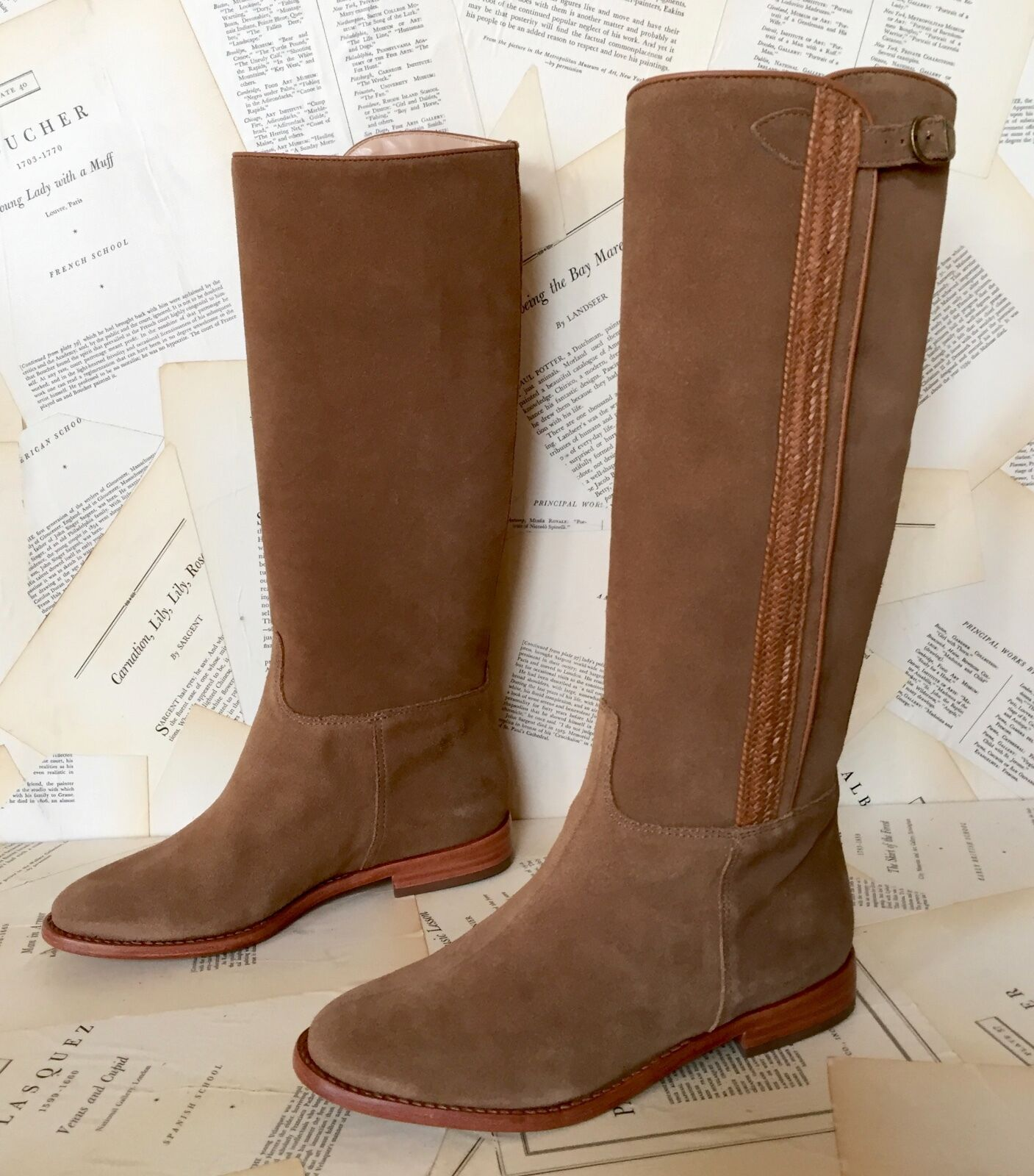 NIB Anthropologie Candela Tan Suede Side Braid Buckle Pull On Riding Boot 6