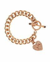 Juicy Couture Crystal Pave Heart Chain Link Bracelet - Rose Gold