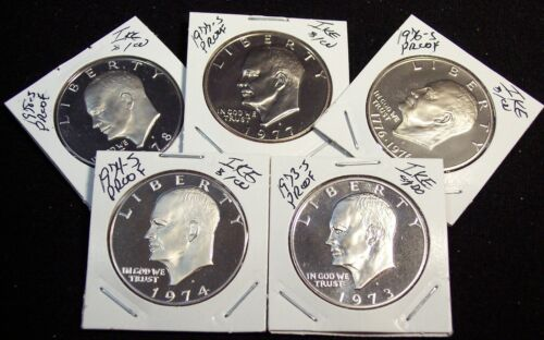 Beautiful Cameo Coins!!!!!!!! 1973,74,76,77/&78-S Proof Eisenhower Clad Dollars