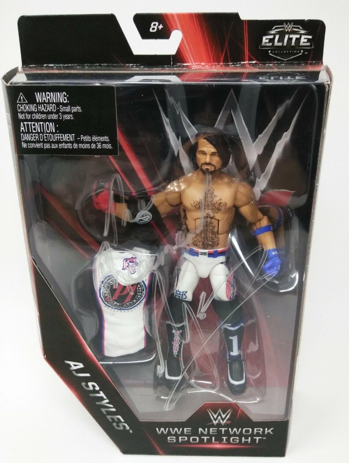 Signed WWE- AJ STYLES Elite NETWORK SPOTLIGHT Series Wrestling Figure HTF W6