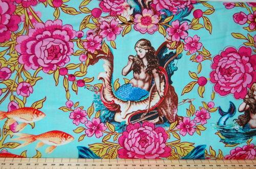 Tokyo Milk for Free Spirit Neptune /& the Mermaid Floral Vintage 100/% Cotton FQ