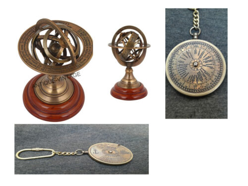 Brass Armillary Free With Brass Antique Keychain Calender Decorative Gifts