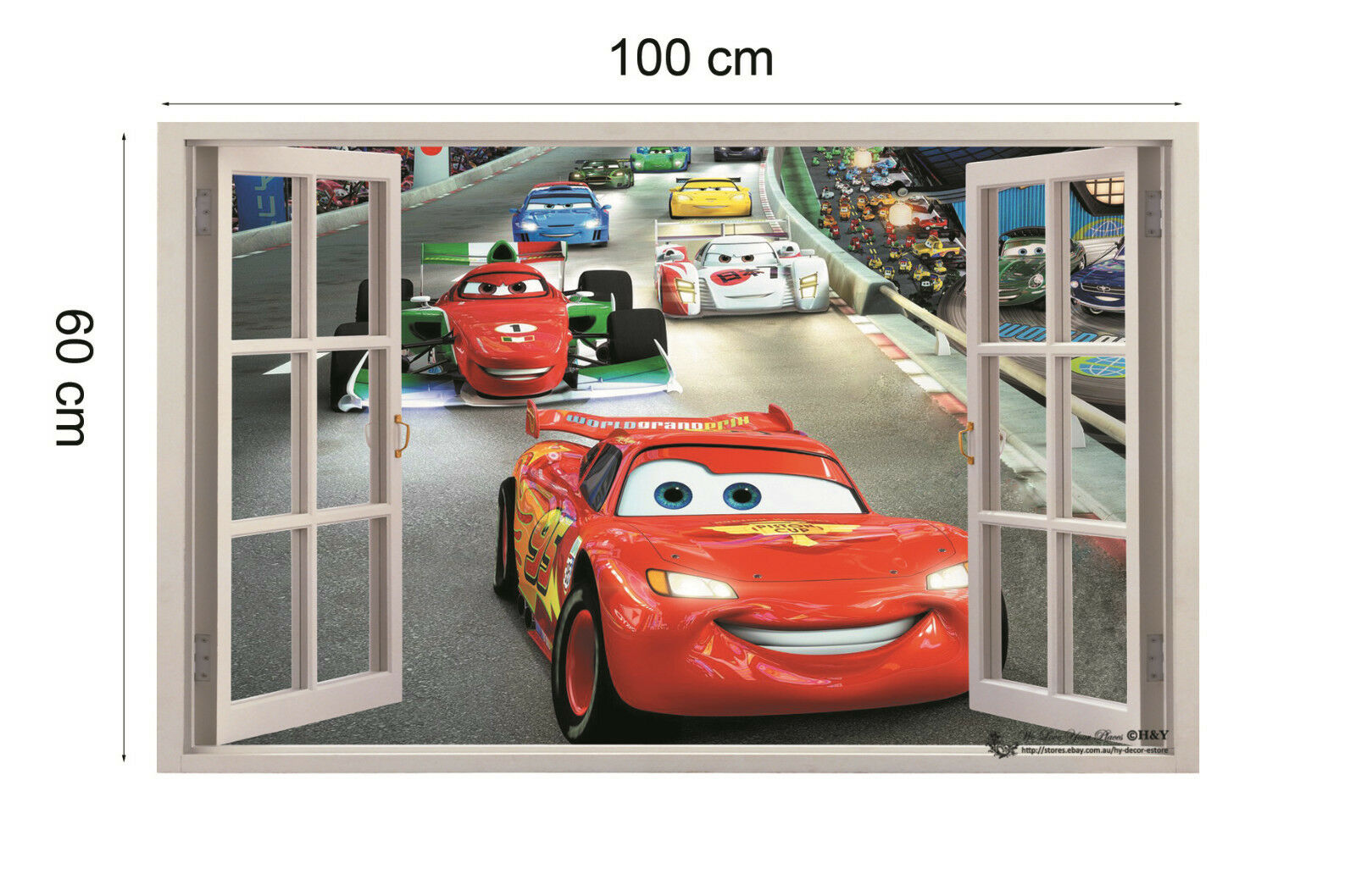 3d disney cars racing pixar mcqueen wall stickers kids art for Disney pixar cars mural wallpaper