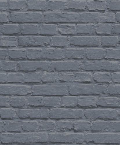 Bleu Foncé Argent mur mur de brique Ugepa Qualité jardins Designer papier peint L22601