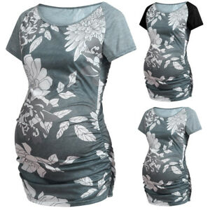 Women-039-s-Maternity-Clothes-Floral-Spliced-Short-Sleeves-Casual-Blouse-Tops-Shirt