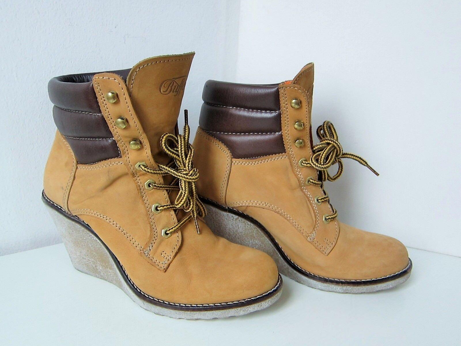 Buffalo Keilabsatz Stiefelette Bootie camel Gr. 40 hellbrown Wedge Boots Stiefel