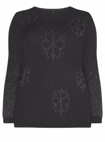 EVW2 EllieJames Womens Black Glitter Snowflake Christmas Jumper